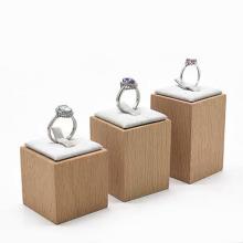 Porta-joias com anel de madeira maciça para casamento de luxo