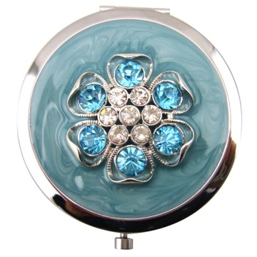 Jeweled Carnation Compact Mirrors With Blue Enamel