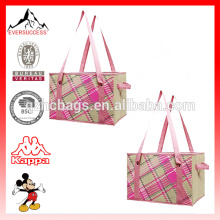 Plaid Fashion Collapsible Reusable Shopping Box Bag with Reinforced Bottom