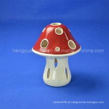 Glazed Mushroom Ceramic Decoração para casa Candle Holder
