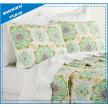 Green Floral Totem Polyester Quilted Coverlet Set