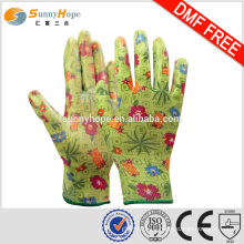SUNNYHOPE 13gauge green cotton garden gloves
