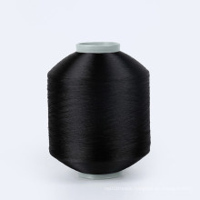AA grade TC suppliers Dope dyed black 68D/48F FDY Recycled polyester flat twisting weaving tube yarns for woven label