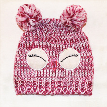 Children Baby Kids Knitted Owl Bird Printing Embroidery Hat Warm Beanie (HW633)