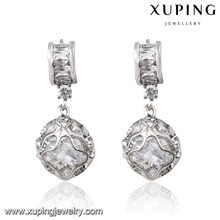92303 Fashion Rhodium-Plated Round Bead Cubic Zirconia Jewelry Eardrop