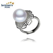 AAA 12 milímetros botão 925 anel de prata esterlina anel de pérolas naturais de água doce