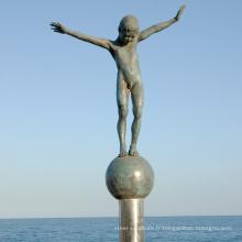 Statue de garçon nu bronze