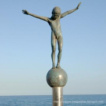 Bronze nude boy statue