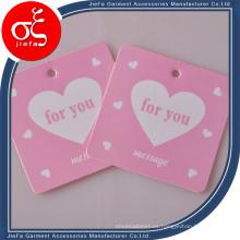 Precio barato Etiqueta de columpio de papel rosa lindo para ropa de mujer