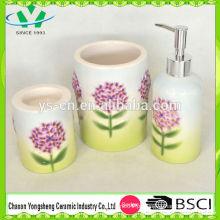 Novo design em relevo bomba de flor cerâmica casa de banho