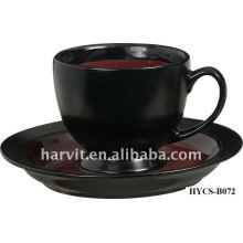 Multi-coloré Décalque personnalisé en grès rond Tasses à thé et soucoupes