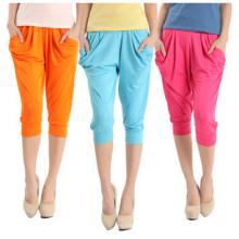 Mulheres moda candy cores cortadas harem calças (rs8206)