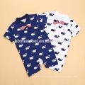 100% cotton hot sell infant romper short sleeve tie romper gentleman whale printed baby romper suit