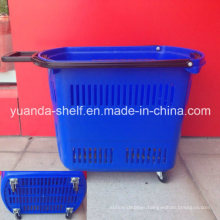 4 Wheel Plastic Supermarket Shopping Rolling Handle Basket