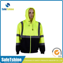 High Visibility Hodded Reflective Zip Fleece Sweatshirt