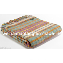 Woolen Tartan Wool Travel Picnic Throw Blanket (NMQ-TWT005)