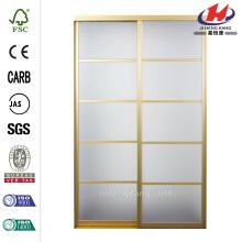 Silhouette Satin Gold Mystique Glass Aluminum Sliding Door