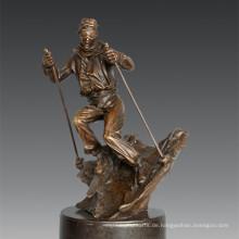 Sport Statue Spieler Skifahren Bronze Skulptur, Nick TPE-791