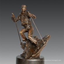 Statue sportive Joueur Ski sculpture en bronze, Nick TPE-791