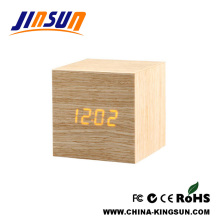 Square Wooden Led Clock On Office Desktop