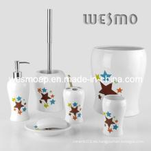 Accesorios de baño de porcelana conjunto con estrellas Decal (WBC0501A)