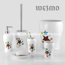 Porcelain Bath Accessories Set with Stars Decal (WBC0501A)