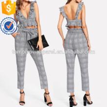 Ruffle decote em V profundo e conjunto de calças de cinto auto fabricação atacado moda feminina vestuário (TA4006SS)