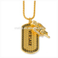 High quality promotional gold dogtag with printing words