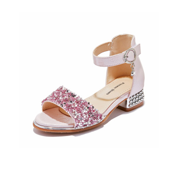 Kasut Sequins Girls Buckle Sandals Shoes