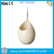 Plain Balcony Ornamental Ceramic Hanging Planter