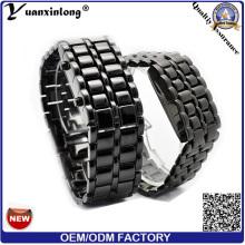 YXL-154 lave imperméable à l'eau conduit montre électronique hommes femmes inox montres-bracelets binaire LED afficheur lumineux Sports montres