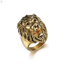 Declaração punk inoxidável animal ouro leão cabeça anel