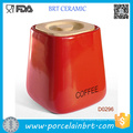 Red Square Ceramic Kitchen Storage Jar with Bamboo Lid