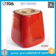 Красная площадь кухня керамический Опарник хранения с крышкой Бамбук