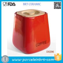 Bocal de rangement en céramique carré rouge avec couvercle en bambou