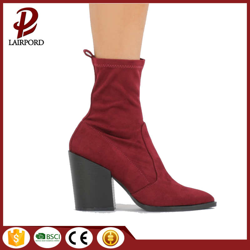 high heel ankle suede boots shoes women