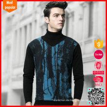 Nuevo suéter negro de la cachemira del cuello alto de los hombres de la llegada