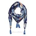 Art und Weise neue Damen druckten silk quadratischer Troddelschal