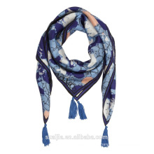 Мода новых дам напечатаны шелковый квадрат кисточкой шарф