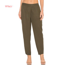 Elastic Waist Cross Front Tencel Pants