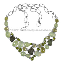 Natural Idocrase Prehnite Lemon Quartz Moldavite Gemstone & sterling Silver Necklace Jewelry