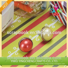 scrapbooking metal brads with big colorful pearls