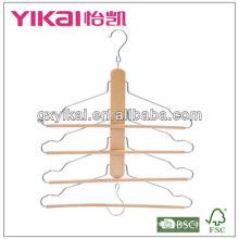 Hölzerner raumsparender Aufhänger mit 4 Reifen der Hose runde Stange und 2 Haken