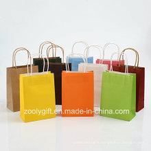 Оптовые дешевые сумки Kraft Paper Carrier с витой ручкой