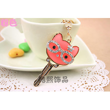 creative cute glasses cat key shape crystal key chain resin stone inlaid men and women bag hanger metal key ring promotions