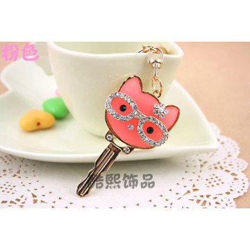 creative cute glasses cat key shape crystal key chain resin stone inlaid men and women bag hanger metal key ring promotions