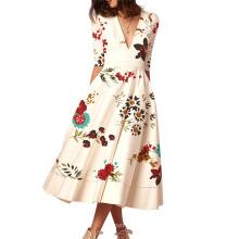 in Stock Print Fashion Swing Short Dresses Women Lady Elegant New Arrivals 2021 Night Dresses for Woman
