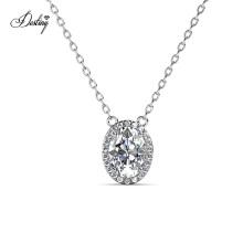 Fine Jewelry Manufacturer 925 Sterling Silver 1.0 Carat Gra Moissanite Diamond Oval Halo Pendant Necklace
