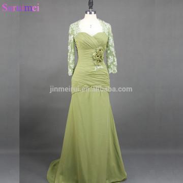 elegant mermaid floor length long lace chiffon mother of the bride dresses MQ028