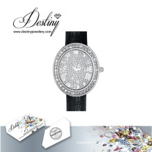 Destin bijoux cristal de Swarovski Glamour en cuir montre